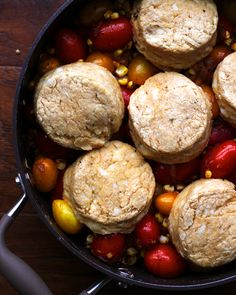 A savory cobbler topped with cheddar buttermilk biscuits and filled with chipotle-roasted cherry tomatoes, fresh sweet corn, and delectable caramelized onions – it is sure to be the hit of whatever party you bring it to! more