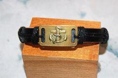 bracelet homme / femme réglable cuir et médaille de bronze, medaillon,medaille, ancre marine,marin