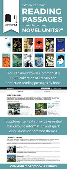 CommonLit's free collection of reading passages is now searchable by BOOK! Teachers can browse the collection to find supplemental texts for popular novels like Wonder, The Giver, To Kill a Mockingbird, and many more.