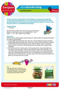 Gewichtsmaten (groep 8) Math Challenge, Maths, Mathematics, School, Math