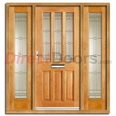 Image Of Chateaux Exterior Oak Door And Frame Set With Two Side Screens And  Elegant Double