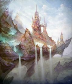 fantasy rock castle art landscape scene. 6Doug9