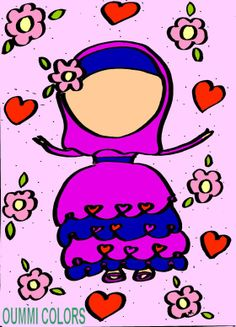 coloriage de la nouvelle robe de la petite muslim,colouring the new dress of the muslim girl