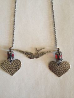 Bird Necklace. with 2 Hammered Hearts & Red by SugarDoveJewelry, $28.00