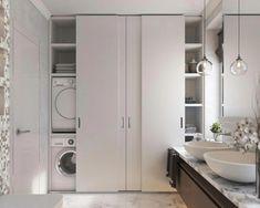 Modern Sliding Doors - December 01 2018 at Bathroom Linen Cabinet, Laundry Room Bathroom, Laundry Closet, Bathroom Doors, Bathroom Interior, Bathroom Storage, Small Bathroom, Bath Room, Bathroom Shelves