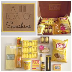 Box of Sunshine. What a great way to send a pick me up to someone who could use one. Be a blessing.Little Box of Sunshine. What a great way to send a pick me up to someone who could use one. Be a blessing. Creative Gifts, Cool Gifts, Box Of Sunshine, Diy Cadeau, Bff Gifts, Cute Gifts For Friends, Birthday Gifts For Friends, Cheer Up Gifts, Teacher Gifts