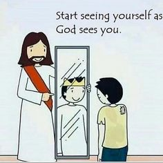 Start seeing yourself as God sees you. Prayer Quotes, Bible Verses Quotes, Jesus Quotes, Christian Cartoons, Christian Memes, Jesus Drawings, Jesus Cartoon, Gods Princess, Christian Drawings