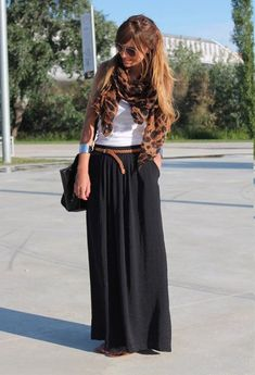 Black dress as maxi skirt +small brown belt + white tank + colorful scarf = great sightseeing outfit