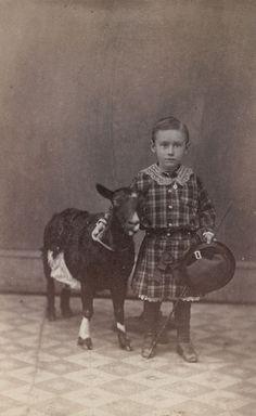 ca. 1865, [albumen portrait of a young boy with a goat], J.B. Gibson via Charles Schwartz Photography #goatvet