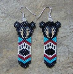 Black Bear Feather Earrings Hand Made Seed Beaded by wolflady, $25.00