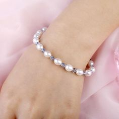 Smart Freshwater Pearl Bracelets with 925 Silver Sterling Clasp & Light Blue Crystal Bangles For Women Pearl Bracelets, Freshwater Pearl Bracelet, Bangles, Blue Crystals, Crystal Beads, Fresh Water, 925 Silver, Light Blue, Pearls