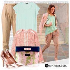 Pantalones con prenses y chaquetillas con tejido tipo tweed, siempre van muy bien con bolsos sofisticados y de vanguardia #MarrakeshStyle