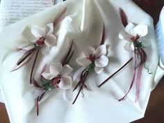 Cold Porcelain wedding buttonholes.