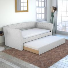 Daybed With Trundle Bed, Trundle Mattress, Upholstered Daybed, White Trundle Bed, Twin Bed Couch, Daybed Couch, Twin Beds, Bunk Bed, Home Design