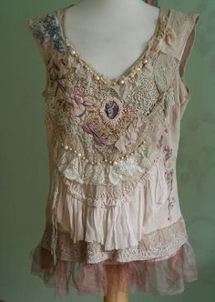 RESERVED for Joanne ---romantic soft top with antique laces, embroidery and beading, textile collage, bohemian romantic L-XL