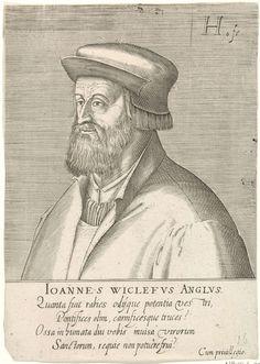 Hendrick Hondius (I) | Portret van John Wyclif, Hendrick Hondius (I), 1599 | Buste naar links van John Wyclif. Onder het portret zijn naam en vier regels in het Latijn. Prent uit (deel 1 van) de serie portretten van beroemde hervormers.