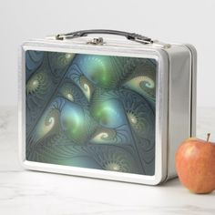 Cool Spirals Beige Green Turquoise Fractal Metal Lunch Box - decor gifts diy home & living cyo giftidea