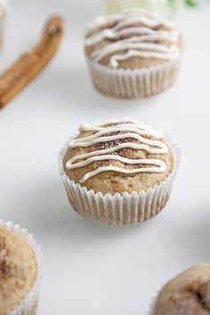 cinnamon sugar cupcake with frosting Gluten Free Recipes For Dinner, Healthy Gluten Free Recipes, Gluten Free Cooking, Best Dessert Recipes, Gluten Free Desserts, Amazing Recipes, Breakfast Recipes, Gluten Free Cupcake Recipe, Cupcake Recipes