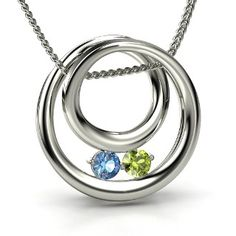 Round Blue Topaz Sterling Silver Necklace with Peridot - perspective