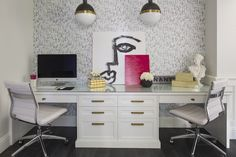 Built In Desk for Two, Contemporary, den/library/office, Martha O'Hara Interiors