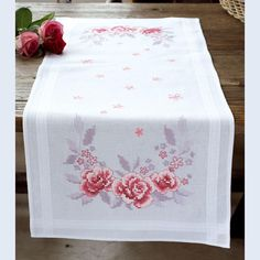 This Pin was discovered by Gül Cross Stitch Rose, Stitch 2, Ribbon Art, Bargello, French Country Decorating, Pink Roses, Roses Roses, Cross Stitching, Table Runners