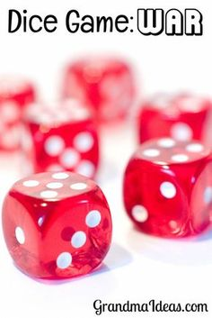 Kids of all ages enjoy playing this dice game called War! It's super, super easy to learn. Casino Party Games, Kids Party Games, Games For Kids, Games To Play, Children Games, Pool Games, Dice Games, Activity Games, Math Games