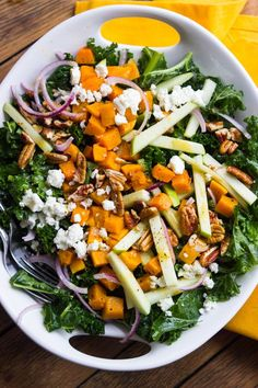 Kale, Butternut Squash and Apple Salad - healthy kale greens with roasted…