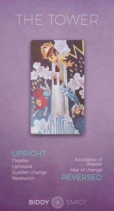 Detailed Tarot card meaning for the Tower including upright and reversed card meanings. Access the Biddy Tarot Card Meanings database - an extensive Tarot resource. The Tower Tarot Meaning, The Tower Tarot Card, What Are Tarot Cards, Tarot Astrology, Tarot Major Arcana, Tarot Card Meanings, Tarot Readers, Tarot Spreads, Tarot Decks