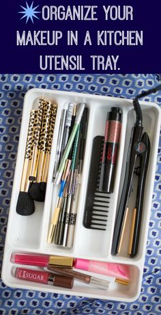 Separate your products by category inside of a kitchen utensil tray to organize your makeup drawer.