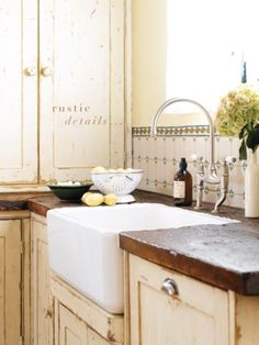 KITCHEN: Prefer color for cabinets but love the rustic, matte paint, as well as the wooden countertops and simple farmhouse sink. Country Kitchen, New Kitchen, Kitchen Dining, Kitchen Decor, Kitchen Sink, Kitchen Rustic, Rustic Kitchens, Country Sink, Kitchen Furniture