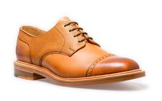 NPS Gibson Shoe. Acorn brown coloured derby shoe. Handmade in Britain. Available at www.shoes121.co.uk.