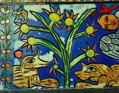 Mirka Mora - Detail of a mural at Flinders Street Station, Melbourne, Australia