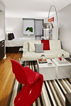 studio apartment with red accents