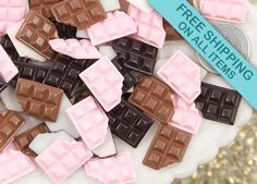 17mm Chocolate Bar Resin Cabochons  8 pc set by delishbeads, $3.95