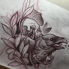 Sketching for tomorrow's neck! // Dibujando el cuello para mañana! For booking//para citas -- alvaro_ae89c@hotmail.com --- #ink #inked #inkedup #tattoo #tattoos #tattooartist #tattooart #sketch #artist #drawing #blacktattoo #black #sitges #bcnart #bcntattoo #neotraditional #heart #neotradsub #barcelona #raven #crow #skulltattoo #skull #birdtattoo #blackwork #thebestspaintattooartists #skinartmag #skinart_mag