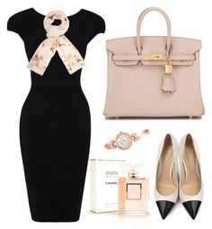 """CLASSIC"" by nicolesynth ❤ liked on Polyvore featuring Elie Saab, Gianvito Rossi, Hermès, Dorothy Perkins, Chanel, Anne Klein, women's clothing, women, female and woman"