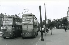 c 1955 -  2 London Transport K type trolleybuses at Stamford Hill. North London.