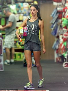 Victoria's Secret model, Alessandra Ambrosio, running around in the Asics Kayano 21...