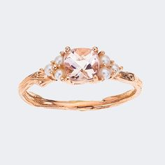 Rose Gold Morganite and Pearl Ring  In Stock and ready by bmjnyc, $1810.00