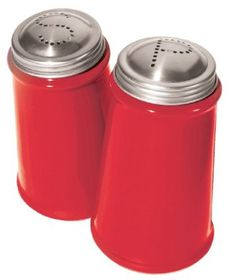 Amazon.com: Oggi Salt and Pepper Shaker Set with Stainless Steel Tops, Red: Kitchen & Dining