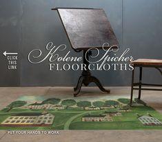 Spicher and Company :: Vintage Vinyl Floorcloths Floor Cloth, Rental Decorating, Vinyl Flooring, Drafting Desk, Home Projects, Cloths, Furniture, Vintage, Home Decor
