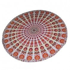 Buy designer round beach towel online on handicrunch. #mandalaroundies #beachtowel #beachthrow #roundies #roundbeachtowel