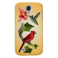 Cardinal and Hummingbird with Pink Lilies and Ivy Galaxy S4 Cases