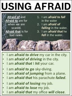 USING AFRAID: the differences between afraid to, afraid of, and afraid that