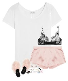 """""""I like it when you sleep for you are so beautiful yet so unaware of it"""" by kthayer01 ❤ liked on Polyvore featuring La Perla, Pottery Barn, Gucci, Yves Saint Laurent, Morgan Lane, Avec Modération, Kiki de Montparnasse, Allies of Skin, Sunday Riley and Balmain"""