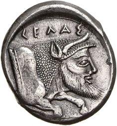Tetradracma - argento - Gela, Sicilia - CEΛAΣ la divinità fluviale GELAS come protome barbata di toro androcefalo vs.dx.- Münzkabinett Berlin