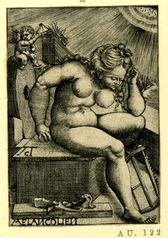 Melancholia seated; a wood planing tool on the ground and a saw. Engraving by: Allaert Claesz. 1520-1530