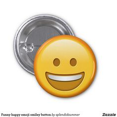 Funny happy emoji smiley button 1 inch round button