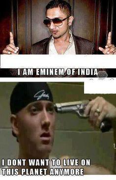 Honey singh vs Eminem ~ funny image ~ MyCafeLove - Come and Entertain Yourself. Eminem Funny, Eminem Memes, Eminem Rap, Best Rapper Ever, Bae, Eminem Photos, The Real Slim Shady, Desi Jokes, Indian Jokes