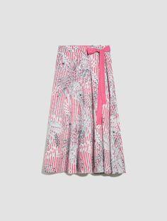 Skirt with asymmetric folds, fuchsia pattern - Max&Co. Bow Hunter, Max Co, Printed Skirts, Grosgrain Ribbon, Poplin, Feminine, Bows, Ribbons, Pattern